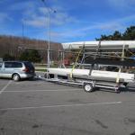 Home built aluminum tilt trailer for 10' wide Cats