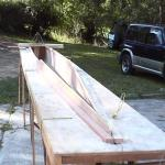 pic029-Deck jig helps define the shape of the hull and width of the deck.