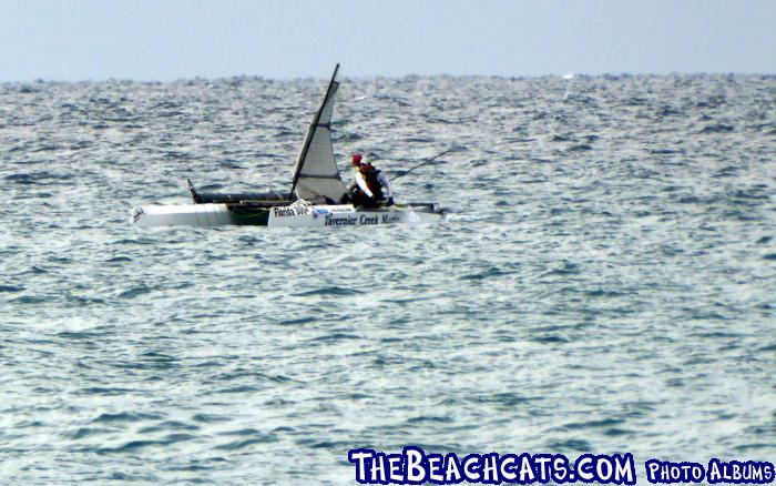 Team Tavernier Creek Marina sailing under jury rigged sail.