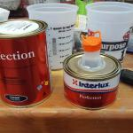 Interlux Perfection paint, with the spout on the small can pulled up