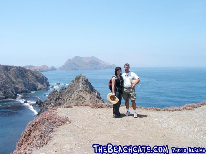 Anacapa Island.  Look closely to see Eastern Santa Cruz Island just over my head