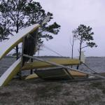 Hobie gives a helping hand. No damage to the hulls of the Prindle or Hobie amazingly. The mast are a different story
