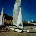 My boat rigged and waiting in Cholla Bay, Mexico Prindle 19MX