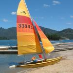 "My Hobie 14 (It's like a ""Baby 16"" because of the battened jib)."