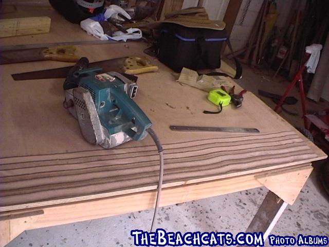 pic003-fine sand with a block and sandpaper or fine grade worn belt on belt sander
