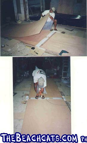 pic006-carfully stack the sheets and then clamp so they glue to make 16ftx4ft sheets