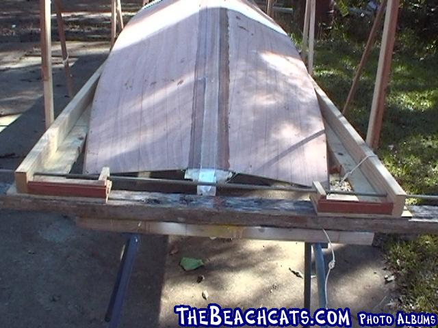 pic020-Fit hull into expanded deck jig.