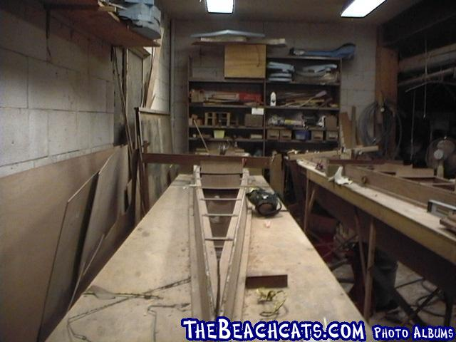 pic030-Front view of hull in deck jig.