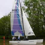 Hobie 20 maiden voyage, Gun Lake, Killer Dana sail pattern