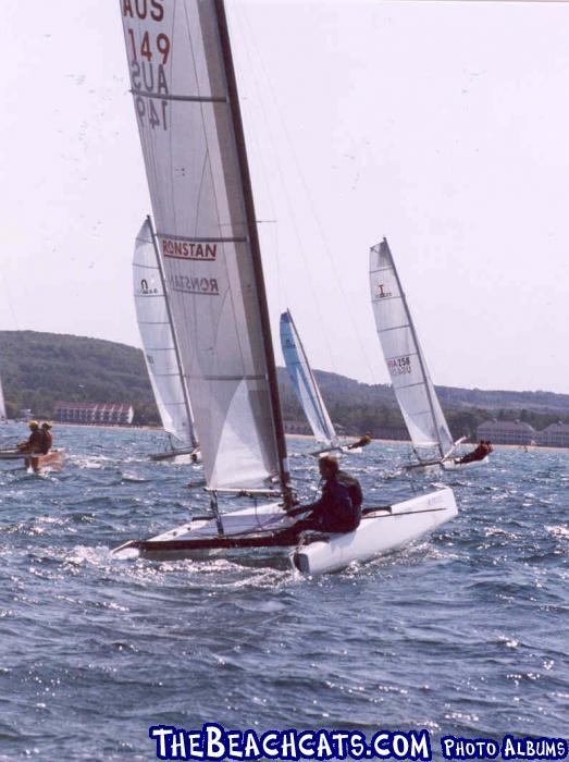Jan Gougeon, of West System Epoxy fame, on A-Class Catamaran