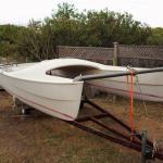 Pacific Catamaran on Rusty Trailer