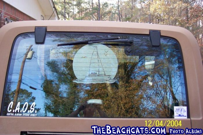 This is the back of my Jeep with Thebeachcat sticker on the back.